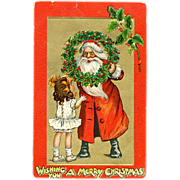 1907 Tucks Santa Claus with Girl Postcard