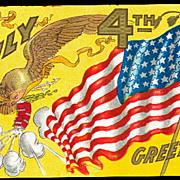 Fourth of July Eagle & Flag 1908 Postcard