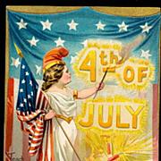 Tucks July 4th Girl with Flag 1907 Postcard