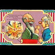July 4th Patriotic Fireworks 1909 Postcard