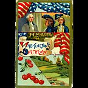 George Washington Patriotic w Flags 1907 Postcard
