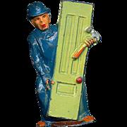 (M151) Manoil Happy Farm Carpenter w Door Figure, 1930s