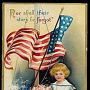 SALE PENDING 1910 Ellen Clapsaddle July 4th Girl Postcard