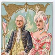 George & Martha Washington Patriotic 1907 Postcard