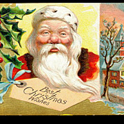 Santa Claus 'Best Christmas Wishes' 1909 Postcard
