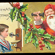 Santa Claus on Phone with Child Postcard