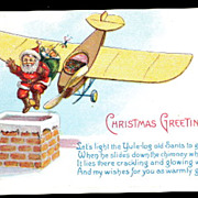 1925 Santa Claus Jumping Out of Airplane Postcard