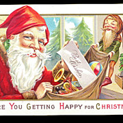 1910 Santa Claus with Elf & Bag Postcard