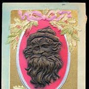 1907 Postcard 2 Embossed Gold Santa Claus Profile 1907 Postcard