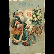 Green Coat Santa Claus with Donkey 1907 Postcard