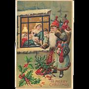 1907 Blue Coat Father Christmas Peering Into Window Postcard