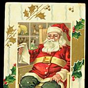 Santa Claus Sitting Reading List 1910 Postcard