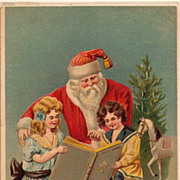 Santa Claus with Children Reading Book 1908 Postcard