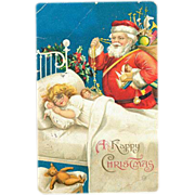 1907 Ellen Clapsaddle Santa Claus with Girl Sleeping Postcard