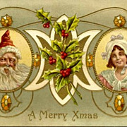 1911 Santa Claus & Girl Christmas Greetings Postcard