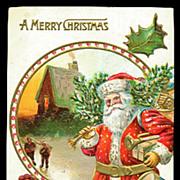 Santa Claus with Drum & Toys Postcard ca 1909