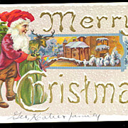 Merry Christmas Girl Elf in Santa Suit 1908 Postcard