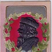 PFB Embossed Gold Santa Claus Profile 1907 Postcard