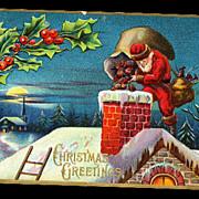 Santa Claus Climbing in Chimney 1907 Postcard