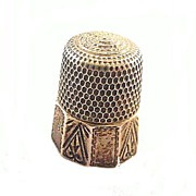 SOLD Simons Sterling Silver Upside Heart Panel Thimble