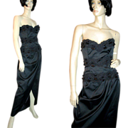 Elegant Victor Costa Black Beaded Gown NOS Saks 5th Ave M
