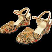 SALE 1940s Painted Horses Wedge Heels, Peep Toe Shoes size 5 or 5.5