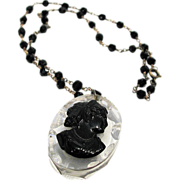 REDUCED 1930s Lucite Cameo Pendant Necklace