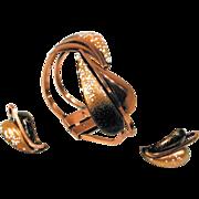 SALE Matisse Leaflet Bracelet with Earrings Brown Copper Clamper Demi
