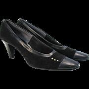 Vintage Palter Pumps Black Suede Leather Heels 7.5 or 8