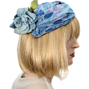 Blue Gardenia Hat Floral Topper 1950s Saks 5th Ave