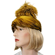 50's Valerie Modes Chartreuse Pheasant Ostrich Feather Hat