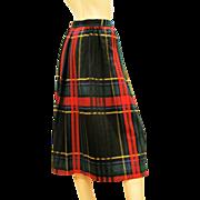 Vintage 1980s DVF Diane Von Furstenberg Plaid Skirt S