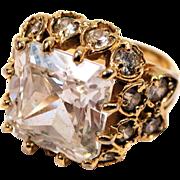 Huge Vintage Square Cubic Zirconia Goldtone Ring 6.5