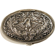 REDUCED Victorian Silver Plate Repousse Hinged Lid Locket Swan Brooch