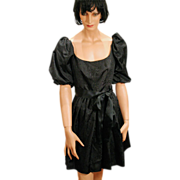 SALE 1970s Black Moire Taffeta Gidding Jenny Dress S/M