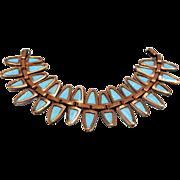 1950s Matisse Bracelet, Blue Enamel Copper Nefertiti Bracelet