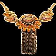 SALE Vintage Yellow Aurora Borealis Rhinestone Necklace on Gold Tone Snake Chain