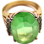SALE Vintage Large Oval Green Faceted Glass Ring with Rhinestones size 7