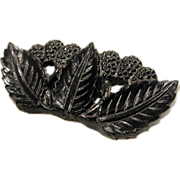 1930s Black Celluloid Fruit Leaf and Berries Brooch