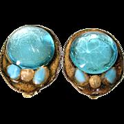 1950s Rare Signed Ruth Buol Modernist Earrings Blue Glass Enamel On Copper