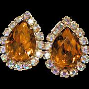 Huge Vintage Topaz Rhinestone Teardrop Clip Earrings