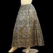 1970s Elegant Evening Skirt, Bonwit Teller Black Gold Metallic Maxi Skirt M/L