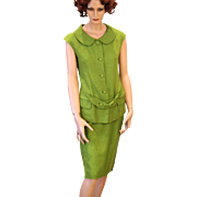 2 Piece 1960s Lime Green Linen Suit, Sleeveless Top and Pencil Skirt, size S