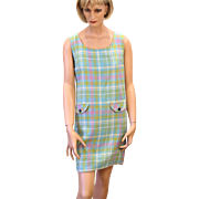 Mod 1960s Jumper Shift Dress, Pink Blue Plaid Mini Dress S/M
