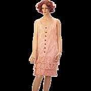 SALE 1960s Pink Lace Mod Mini Dress M/L