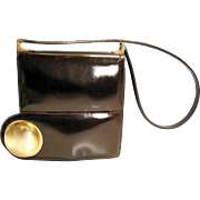 SALE 1960s Pierre Cardin Mod Brown Patent Leather Handbag
