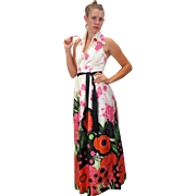SALE Deadstock 1960s Malcolm Starr Rizkallah Silk Floral Halter Gown S