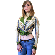 1870s Fine Bodice, Victorian Green Silk and Striped Taffeta Jacket XS