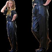 SALE 1980s Christian Aujard Black Leather Designer Trousers 27x27