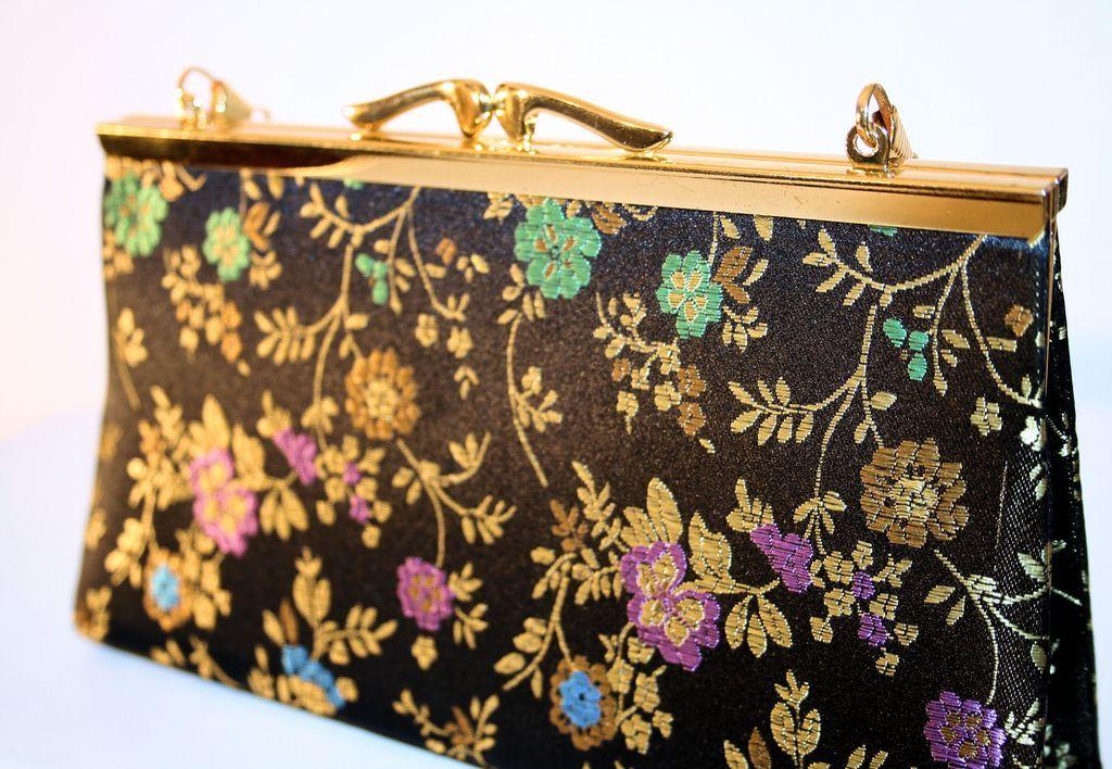 60's Iridescent Black Silk Floral Brocade Bag